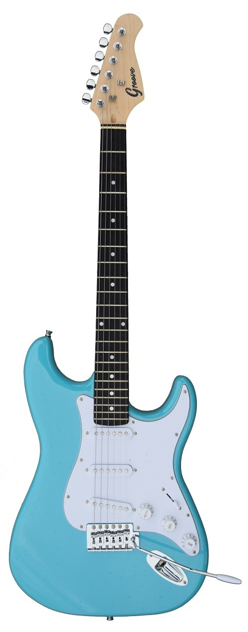 A GROOVE Stratocaster Shaped Electric guitar into Daphne Blue color