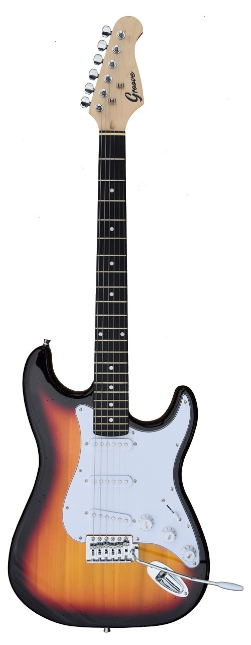 A GROOVE Stratocaster Shaped Electric guitar into Sunburst color
