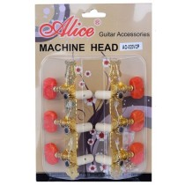 ALICE AOS020V2P MACHINE HEAD SET FOR CLASSICAL GUITAR - SUPERIOR STEEL PLATING - GOLD