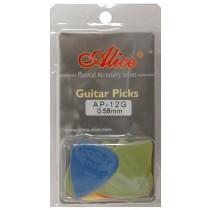 ALICE AP12G GUITAR PICKS - PACK OF 12 (.058)