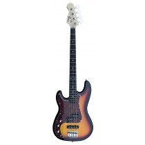 A PJ (Left Handed) Bass Guitar 4 Strings (Jazz & Precision pickups) into Sunburst Color
