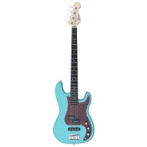 A PJ Bass Guitar 4 Strings (Jazz & Precision pickups) into Turcoise blue Color