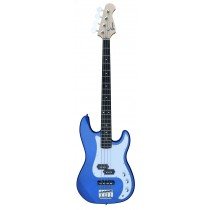 A PJ Bass Guitar 4 Strings (Jazz & Precision pickups) into Metallic Blue Color