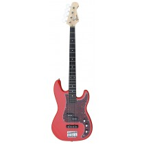 A PJ Bass Guitar 4 Strings (Jazz & Precision pickups) into RED Color