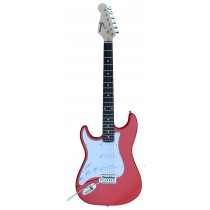 A Left Handed GROOVE Stratocaster Shaped Electric guitar into RED color