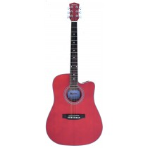MADERA DMA2000C DREADNOUGHT ACOUSTIC GUITAR IN TRANSPARENT RED SATIN