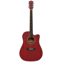 MADERA OK3000CE ACOUSTIC GUITAR WITH ACTIVE PICKUP - MATTE WINE RED