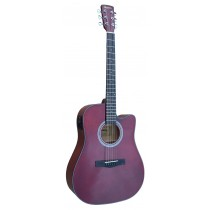 MADERA SPAGA41CEQ CUTAWAY FULL SIZE ACOUSTIC GUITAR WITH PICKUP - RED-BROWN HI-GLOSS