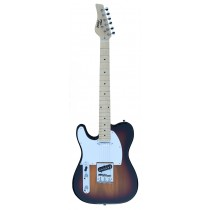 A TONE TELECASTER SHAPED LEFT HANDED ELECTRIC GUITAR INTO SUNBURST COLOR