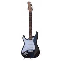 TONE STRAT-STYLE LEFT-HANDED ELECTRIC GUITAR IN BLACK