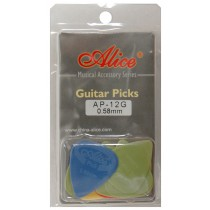 ALICE AP12G GUITAR PICKS - PACK OF 12 (.058)
