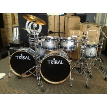 TRIBAL Cast Serie With Canon Bassdrum Faded Sparkel White