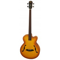 ARIA FEB-FL SPRUCE TOP ACOUSTIC BASS FRETLESS IN LIGHT VINTAGE SUNBURST