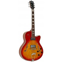 LEMARQUIS F4000 HOLLOW BODY GUITAR - CHERRY BURST