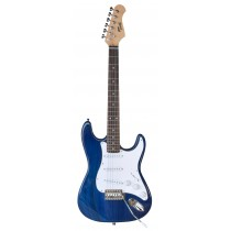 TONE STRAT-STYLE JUNIOR ELECTRIC GUITAR IN TRANSPARENT BLUE