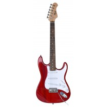 TONE STRAT-STYLE JUNIOR ELECTRIC GUITAR IN TRANSPARENT RED